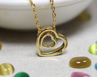 Double Heart Shape Necklace in Gold