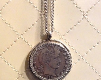 Coin Pendant 1916 Liberty Head Quarter