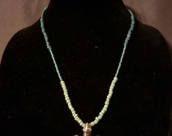 Sea Turtle Necklace with Blue and Green Beading