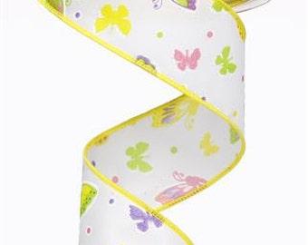 """1.5""""X10yd Butterflies White/Multi"""