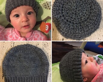 Tunisian Crochet Baby Hat in Charcoal