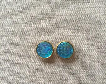 Blue Mermaid Stud Earrings
