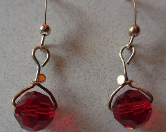 Round Red Crystal Earrings Sterling Silver Ear Wire 9.25