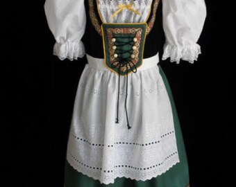 New Green Bavarian German Oktoberfest Dirndl Dress Gown Costume