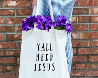 Y'all Need Jesus Cotton Tote Bag - Christian Tote Bag - Christian Market Bag - Jesus Tote Bag - Gold Tote Bag - Christian Gold Tote Bag
