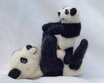 Needle Felted Panda - Mum & Baby