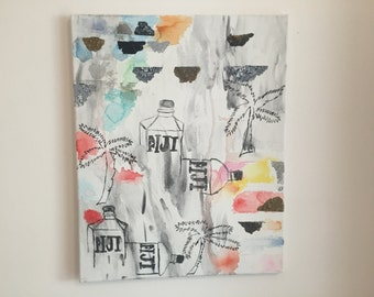 Fiji Water Only Please, Painting, Nicole Laurendeau, acrylic, watercolor, Fiji, palm trees