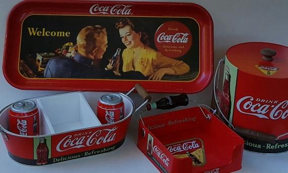 Coca Cola Tin Tray Ice Bucket Napkin Holder S Amp P Shakers