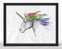Unicorn Watercolor  Digital Print, Poster, Wall Art, Home Decor, Kids Wall Art, College Wall Art