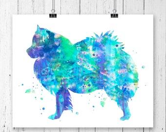 American Eskimo 1 Watercolor Fine  Art Print, Poster, Wall Art, Home Decor, Kids Wall Art, Play Room Wall Art, Nursery Wall Art, Archival
