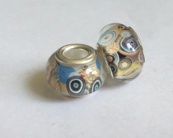 2 Retro Patterned Pandora Style Beads