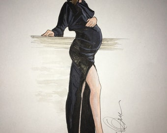 Maternity fashion illustration