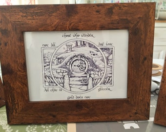Small Framed Tolkien inspired Hobbit hole picture with quotes