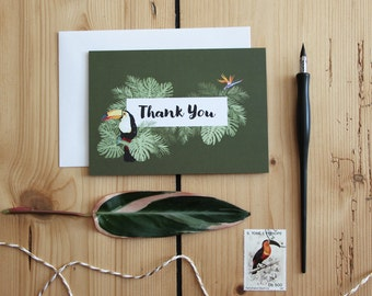 Tropical Thank You Card, Thank You Card Palm