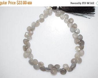 """45% OFF 55 Ct.Gray Moonstone Faceted Heart Shape Briolette , 8"""" Strand - Grey Moonstone Faceted Heart Beads , 5x5 - 7x7 mm , BL447"""