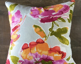 LAST ONE! 18x18 Watercolor Floral Magenta Pink Gray Marmalade Chartreuse Zipper Pillow Cover