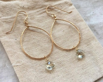 14k Gold-Fill Hammered Hoops+Faceted Green Amethyst Drop