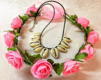 1 Set Moana Crown Pink Flower And Necklace Shell