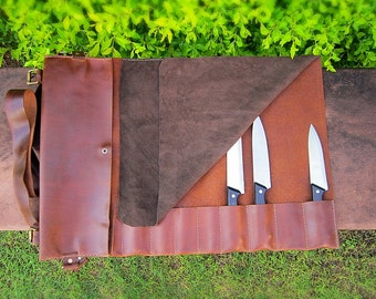 Genuine Leather Royal Brown Knife Roll with Leather Suede cover, Knife Bag, Chef Knife Bag, Chefs Roll, Chef Bag, Knife Roll, Tool Roll