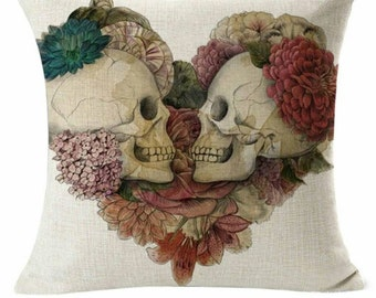 Floral Skulls Decorative Throw Pillow