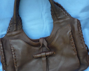 LUPO Exquisite Soft Chocolate Leather bag with FEATURE STITCHING.