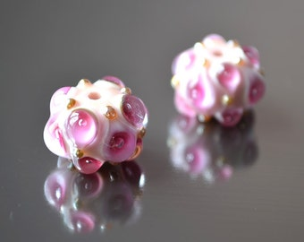 Nymph lampwork beads, handmade glass lampwork beads, wedding earrings ideas, Lampwork beads, glass beads, tender pink beads