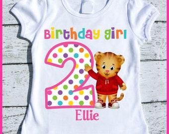 Custom Personalized Girl Daniel the Tiger Birthday tee shirt