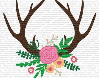 floral antlers, svg, SVG, eps, png, jpeg, dxf, vector, cut file, digital download