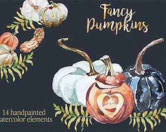 Sale!Watercolor Fancy Pumpkins Clipart,Handpainted clipart,Wedding DIY,Season Clip Art,Pumpkins,Thanksgiving,Leaves,Halloween Printable