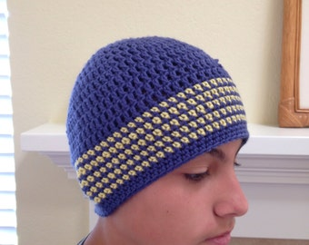 Blue & Yellow Stripe Beanie