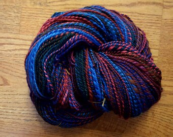 Handspun Yarn/2-ply Worsted to Chunky Weight/336 Yards/7wpi/BFL Wool Top