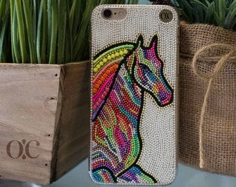 Horse  Phone Case - Cell phone Case - Handmade - iPhone 6 Plus Case - Colorful - Samsung Galaxy Phone E6 - E7