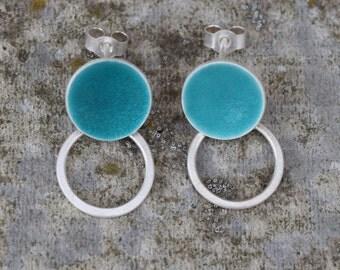 Seagreen circle and hoop earrings
