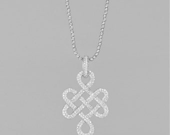 14 K white gold necklace diamond 0.3 CT