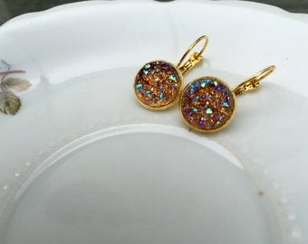 12mm Faux Druzy-- Gold Color Lever-back-- Dangle Earrings