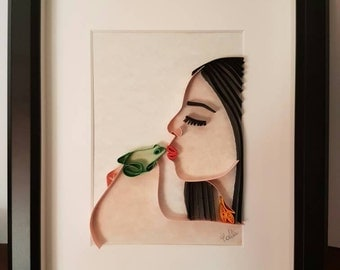 """Art painting quilling """"frog Kiss"""""""