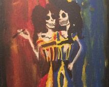 Tangle Twins Acrylic on Canvas-board.