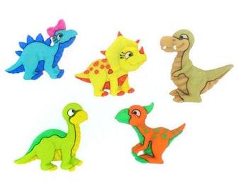 Set of 5 buttons decorative dinosaur - dinosaur button - 1177219