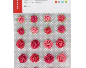 20 mini Roses paper - Mini pink - paper flower - Rose