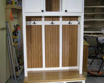 """44"""" Wide Entryway Furniture, Mudroom Cabinet, Hall Tree with Bench, Coat & Hat Rack."""