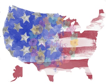 Digital Watercolor America Flag United States