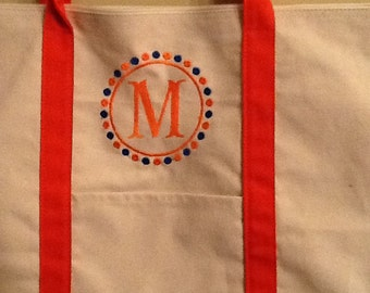 Monogrammed Orange Tote Bag with Initial
