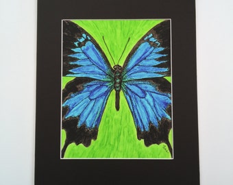 "Butterfly Art Print-""Becoming Free"" -Becoming Series-Pen & Ink on Vellum- 11x14 Matted 8x 10 Giclee Print"