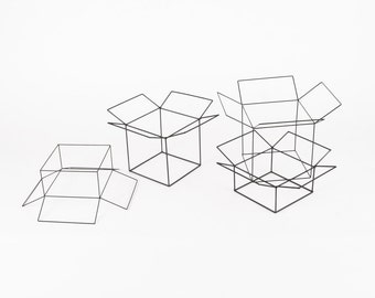 Open Cubes Set of 4 - Handmade Wireframe Decor - JY DesignLab