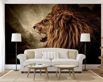 Lion head wall mural, self adhesive photo mural