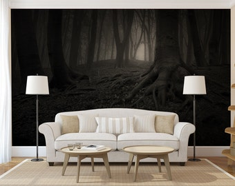 Dark Forest, Large WALL MURAL, Self Adhesive Peel And Stick 3D Photo Mural,