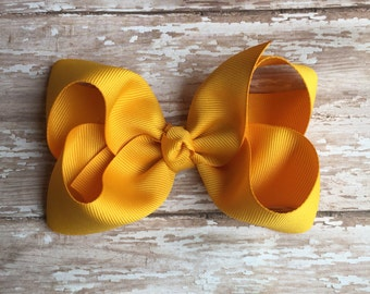 Mustard Boutique hair bow, hair bows, solid color hair bows, large hair bows, Thanksgiving hair bows, back to school hair bow, boutique bows