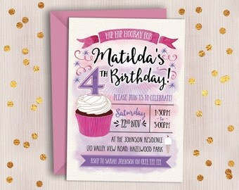 Girl's Birthday Invitation // Watercolour Digital Birthday Invitation for Girl of Any Age // Cupcake Party Invitation / Kids Birthday Invite