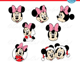 Minnie Mouse Head, Disney Character, logo, image silhouettes for cutting, clubhouse scrapbooking svg, dxf, eps vector, printable files, bow