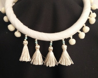 bohemian necklace in linen and PomPoms